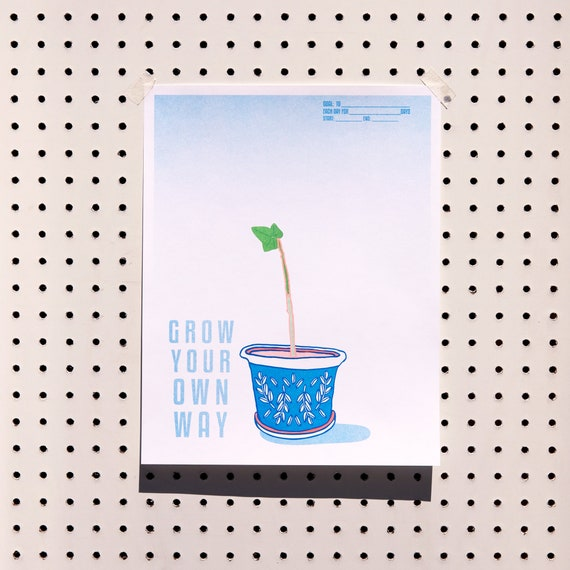 "Riso Printed ""Grow Your Own Way"" Topiary Goal Tracker Art Print Kit"