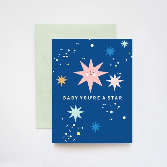 Baby You're a A Star Love Friendship Congratulations Holographic Foil Greeting Card
