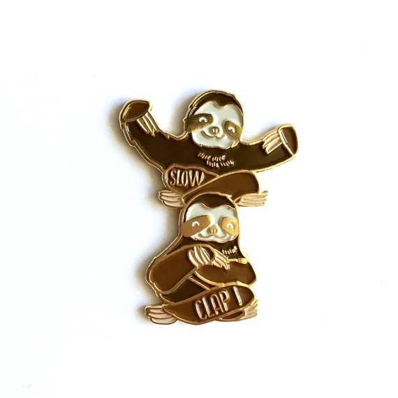 NEW** Slow Clap Sloths Enamel / Lapel Pin