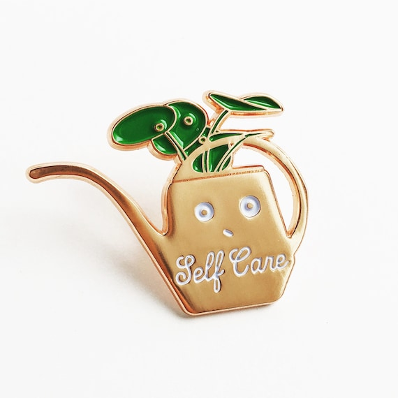 NEW! Self Care Rose Gold Watering Can Enamel / Lapel Pin