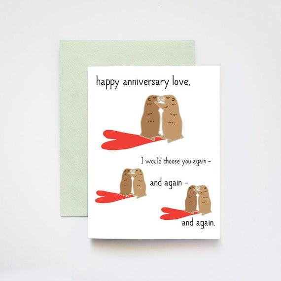 Groundhog Day Happy Anniversary Love Greeting Card