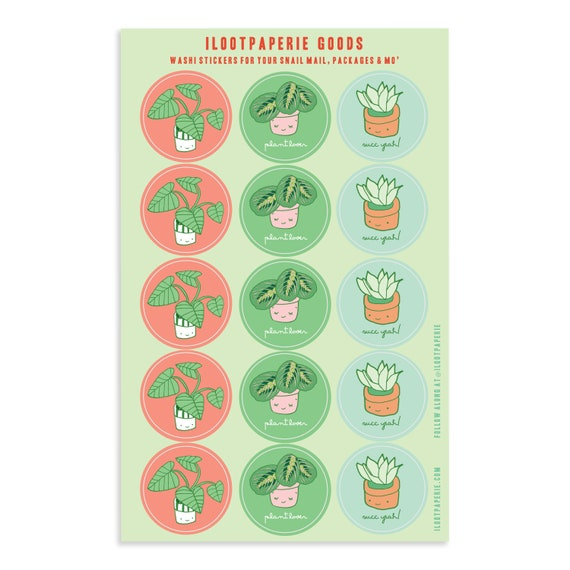 NEW! Plant Lovers Washi Tape Sticker Sheet for Snail Mail, Gift Wrap, Journals, Planners