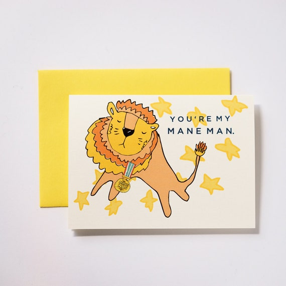 You're My Mane Man Lion Valentine's Day Greeting Card