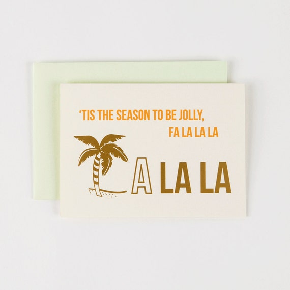 Tis the Season Gold Foil FA LA LA Los Angeles - Set of 5