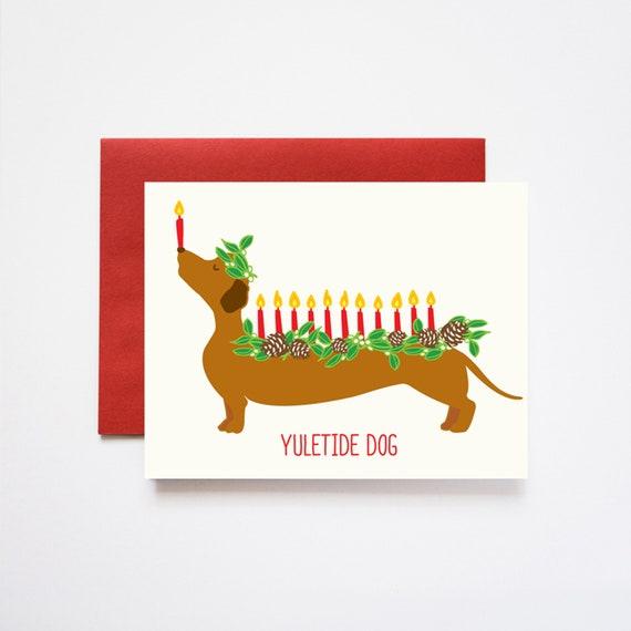 Yuletide Dog (Log) Christmas Greeting Cards