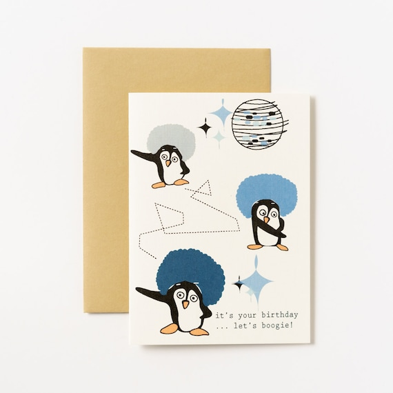 Disco Dancing Penguins Birthday Greeting Card