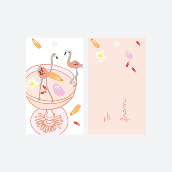 Bottoms Up Flamingo Gift Tags - Set of 8
