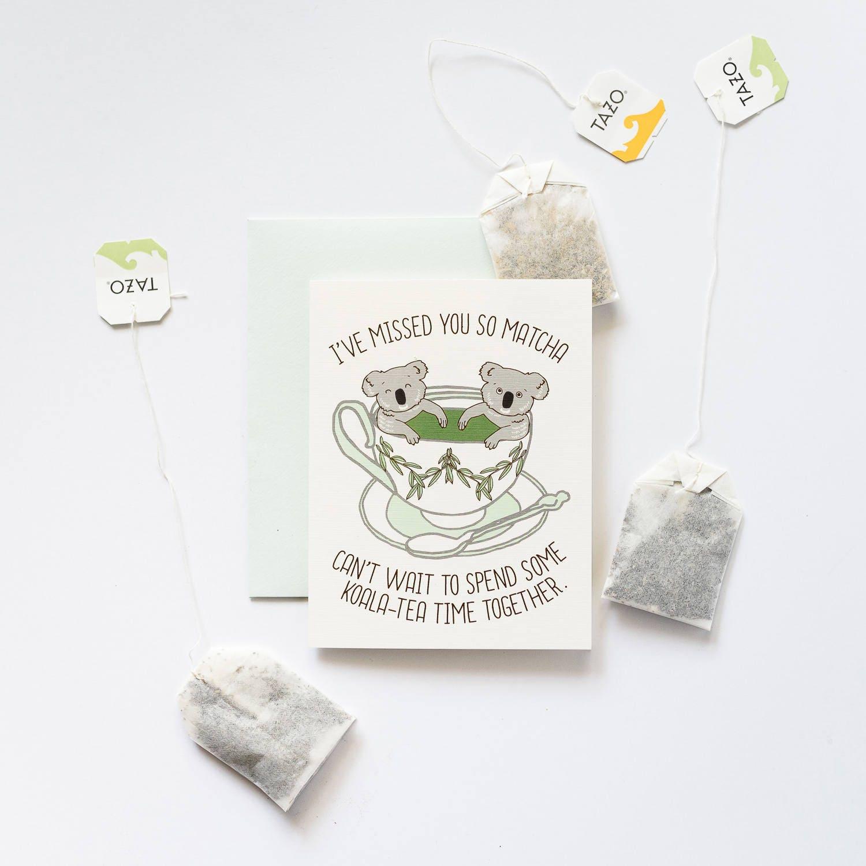 Miss You So Matcha Cant Wait For Koala Tea Time Greeting Card