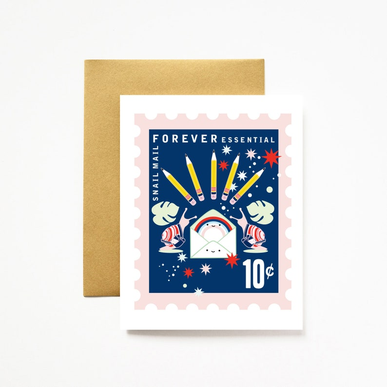 Snail Mail Forever Essential Stationery Love A2 Greeting Card NEW COLORS