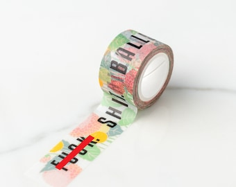 F%*}+. S#@*. Balls. Floral Cuss Words Washi Tape, Pattern Paper Tape, Gift Wrap, Stocking Stuffer, Kawaii Tape, Journal, Planner, Holiday