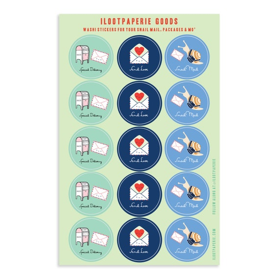 NEW! Snail Mail Washi Tape Sticker Sheet for Snail Mail, Gift Wrap, Journals, Planners