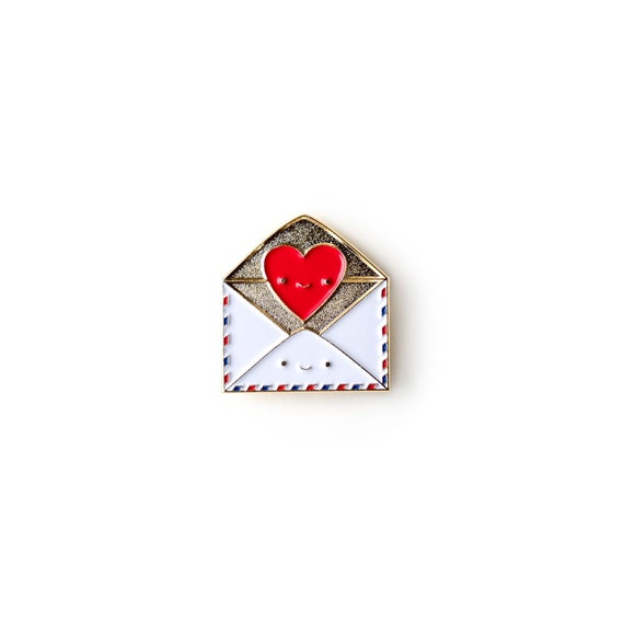 NEW** Send Love Snail Mail Envelope with Heart Enamel / Lapel Pin