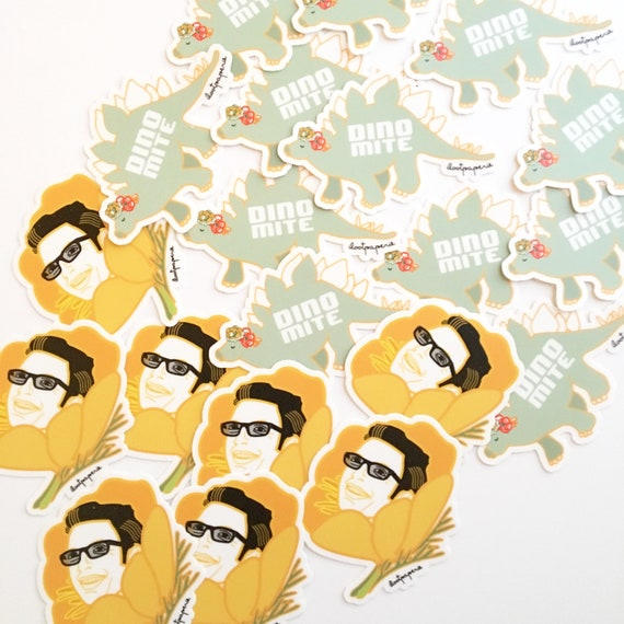 Jurassic Park Inspired Stickers Pack of 3 with Jeff Goldbloom (Goldblum), Dinos (Dino-mite) and a Baby Raptor
