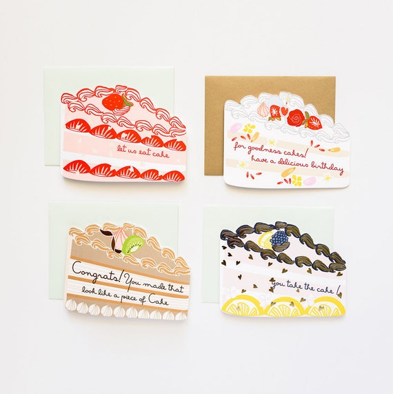 5 Die Cut Cakes and Pie A2 Card Set - Congratulations and/or Birthday Greeting Cards