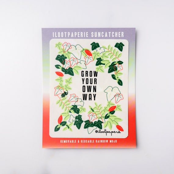 NEW** Grow Your Own Way Suncatcher Sticker Rainbow Maker Window Decal