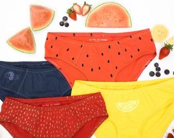 7d8eea43fe57 Women's Handmade Underwear Multi-Pack - Fruit Salad: Strawberry,  Watermelon, Lemon & Blueberry - Made to Order