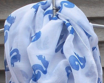 Festival Scarf,White Squirrel Infinity Scarf,Animal printed scarf,Squirrel  Scarf,Fashion