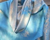 Festival Pashmina,Cashmere Shawl,Turquoise and Silver Shawl,Wedding shawl, Evening Wrap,Blue wedding Scarf,Best Friend Gift,Formal Wear
