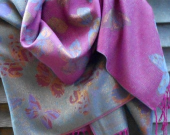 dd8bb3339564a Pashmina, Festival Pashmina,Pink and Gold Shawl,Wedding shawl, Sexy  Butterfly Scarf,Bridesmaid Gift,Rave Pashmina,Glitzy, Best Friend Gift