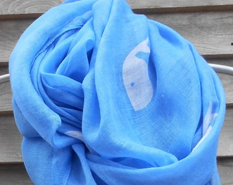 Festival Scarf,Blue Whale Infinity Scarf,Animal printed scarf,Whale Scarf,Fashion Scarf, Gifts for Her,Large  Infinity,Acrylic