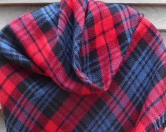 Festival Scarf,Blanket Scarf,Red,Blue and Black Scarf,Plaid Scarf,Tartan Scarf,Oversized Scarf,Warm Scarf,Winter Scarf,Stadium Blanket,