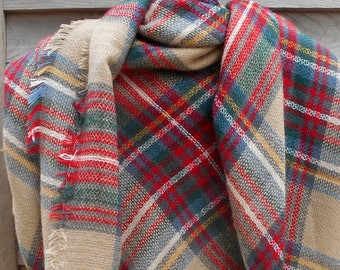 Festival Scarf,Blanket Scarf,Beige Red and Green Scarf,Plaid Scarf,Tartan Scarf,Oversized Scarf,Warm Scarf,Winter Scarf,Stadium Blanket,