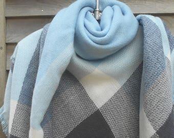 Festival Scarf,Blanket Scarf,Blue, White and Gray Scarf,Plaid Scarf,Tartan Scarf,Oversized Scarf,Warm Scarf,Winter Scarf,Stadium Blanket,