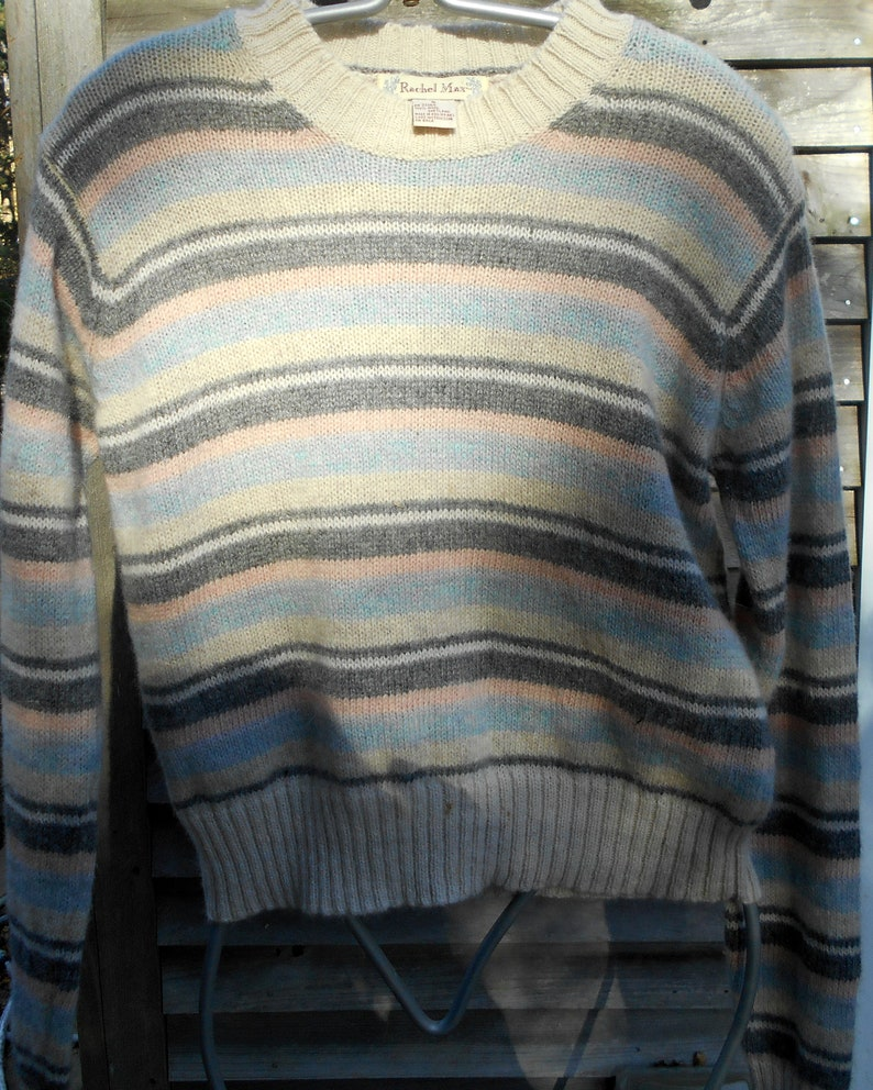 Gray,Pink and Blue Sweater,White Wool Sweater,Size Small,Wool Pullover,Vintage  Sweater,Best Friend Gift SALE  FREE SHIPPING