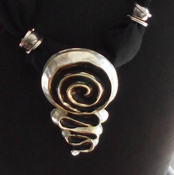 Black Scarf Necklace Spiral
