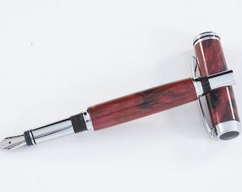 Lovely red & blank custom body on a chrome fountain pen