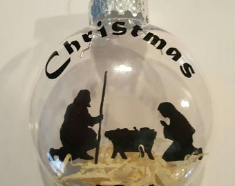 Floating nativity ornament 3""