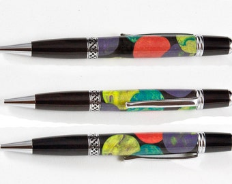 Artsy Ballpoint pen in multicolored acrylic circles. The Plymouth