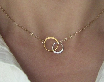 SILVER AND GOLD Elegant Eternal Circles on Gold Chain Small, bridesmaid gift, wedding, gift idea