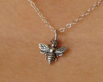 Honey Bee Necklace in Sterling Silver Bee Necklace Silver Bee Charm Bee Pendant Bee Lover Gift Mother's Day Gift Bee Charm Insect Jewelry