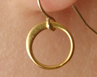 Circle Earrings Drop Earrings in Gold , hammered hoop drop & dangle earrings, bridesmaid gift idea, wedding, gift idea,everyday, simple, 9