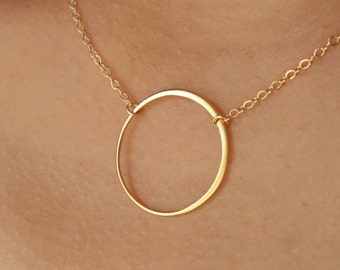 Gift Eternal Circle Necklace Sterling Silver or Gold Large Circle Necklace Holiday Hoop Necklace Infinity Bridal Karma Wedding Jewelry, 23