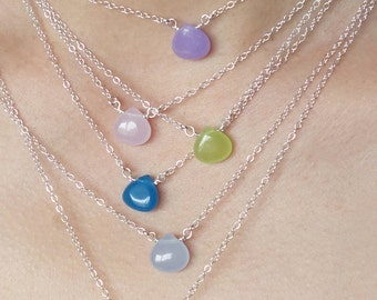 Jade Teardrop Layering Necklaces Set Stone Sterling Silver Hand Wrapped Light Dark Green Light Dark Blue Pink Purple Yellow