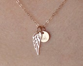 Memorial Rose Gold Angel Wing Necklace Dainty Initial Disc Personalized Memorial Gift Remembering A Loved One Adult or Child