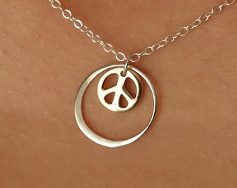 Peace Sign Necklace Silver Circle Bronze Peace Sign Gift for Her Yoga Spiritual Popsicledrum Eternal Circle