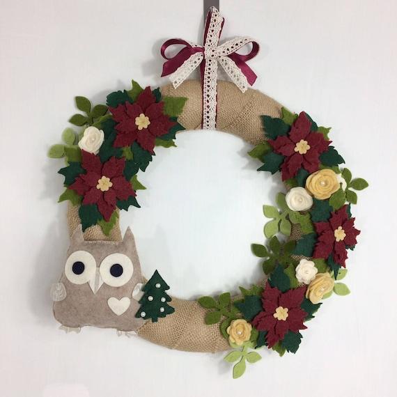 Ghirlanda natalizia con stelle di natale e gufo che porta un etsy - Ghirlanda porta natale ...