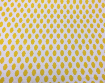 Vintage 60s 70s Upholstery Fabric Yellow Honey Comb Embossed Waffle Fabric Yellow & White Polyester