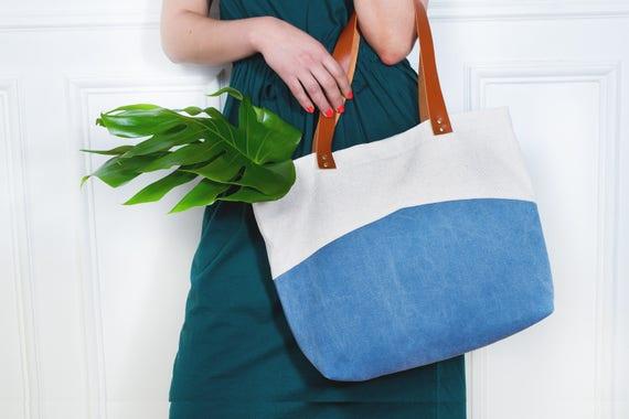 Simone  sac cabas en toile de coton bleu délavé et toile de   Etsy f9d91f162ad