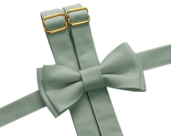 GOLD hardware, Dusty Green Bow Tie, Suspenders, or Set for Adults & Children, Dusty Shale Inspired, use code TENOFF5 for 10% off 5 or more