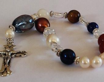 Lutheran Prayer Beads, Frälsarkransen, 18 bead rosary, Pearls of Christ, Wreath of Christ, pocket beads or Bracelet,