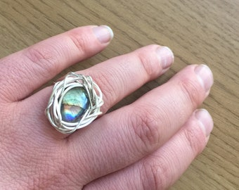 unique one off Wire Wrapped Labradorite ring
