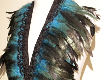 Feather Shawl Feather Cape Bright Blue Feathers Black Lace