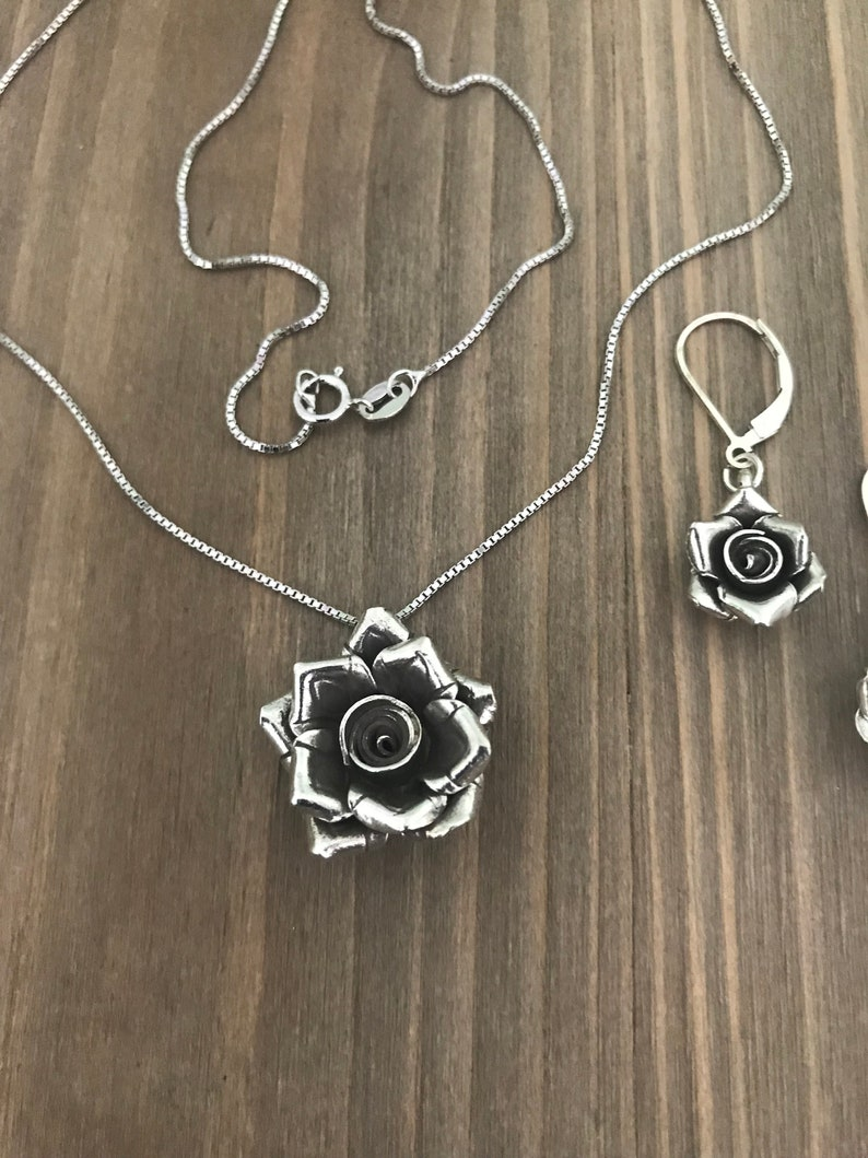 Sterling Silver Hill Tribe Rose Pendant Necklace and Earrings Set