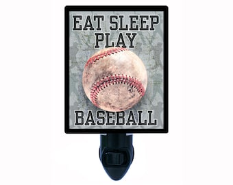 Decorative Photo Night Light, Eat Sleep Play Baseball, Sports