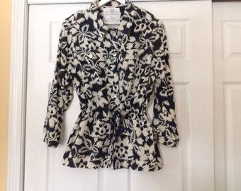 Vintage women's safari jacket, medium. Kazu Sportswear. Cadet blue and off-white.