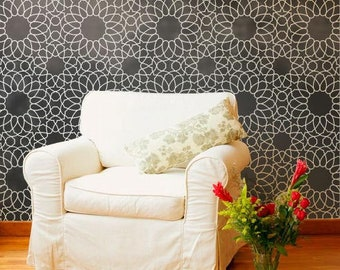 Large Wall Stencil - Moroccan Zelij Tiles Wall Art Pattern - Bohemian Wallpaper Design for Painting and DIY Mural